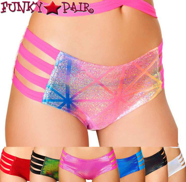 JV-FF923, Rave Metallic Strappy Short color available: black, hot pink, silver, green, blue, red, diamond = multi