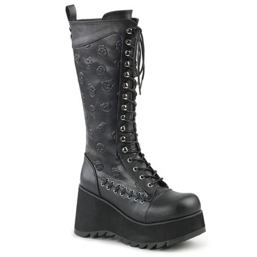 Scene-107, Goth Knee High Boot with Embossed Skulls by Demonia