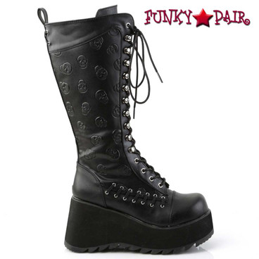 Demonia Scene-107, Goth Knee High Boot with Embossed Skulls