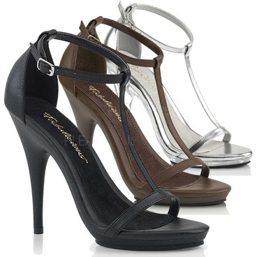 Poise-526, 5 Inch High Heel Closed Back T-Strap