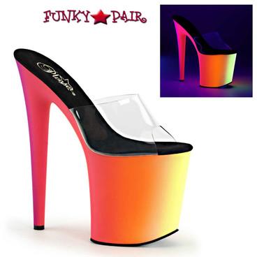 Pleaser Shoes | Rainbow-801UV, 8 Inch Stripper Platform Shoes