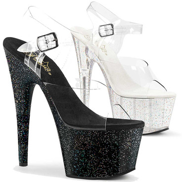 Adore-708MG, 7 Inch Ankle Strap Sandal with Mini Glitters by Pleaser