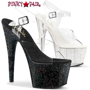 Pleaser | Adore-708MG, 7 Inch Ankle Strap Sandal with Mini Glitters