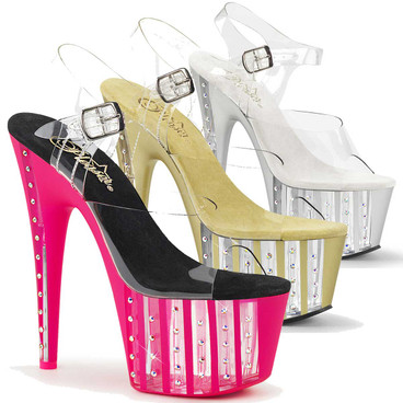 Adore-708VLRS, 7 Inch Rhinestone Exotic Dancer Shoes by Pleaser
