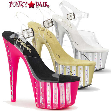 Pleaser | Adore-708VLRS, 7 Inch Rhinestone Exotic Dancer Shoes