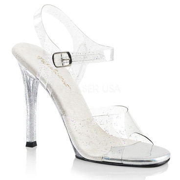 Gala-08MMG, 4.5 Inch Heel Ankle Strap with Mini Glitters