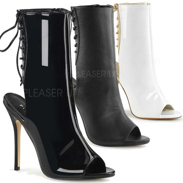 Amuse-1018, 5 Inch Heel Ankle Boot with Open Toe and Back
