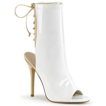 Amuse-1018, White 5 Inch Heel Ankle Boot with Open Toe and Back