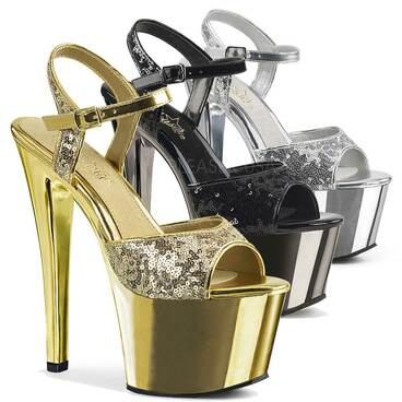 Sky-310SQ, 7 Inch High Heel with Sequin Strap Sandal