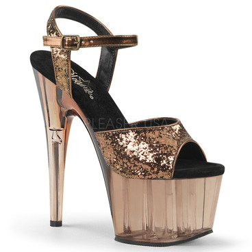 Adore-710GT, 7 Inch Stiletto Heel with Glitter and Tint Platform