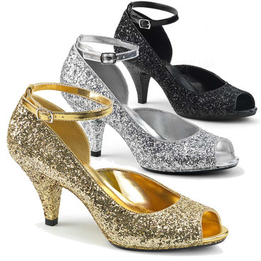 Belle-381G, 3 Inch High Heel Glitter Ankle Strap Pump