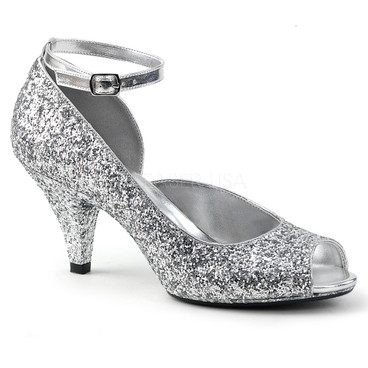 Belle-381G, 3 Inch High Heel Glitter Ankle Strap Pump