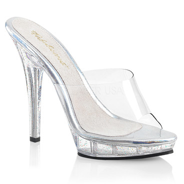 Lip-101MG, 5 Inch High Heel Mule with Glitters On Platform