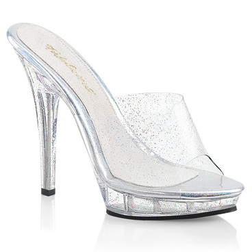 Lip-101MMG, 5 Inch High Heel Mule with Glitters