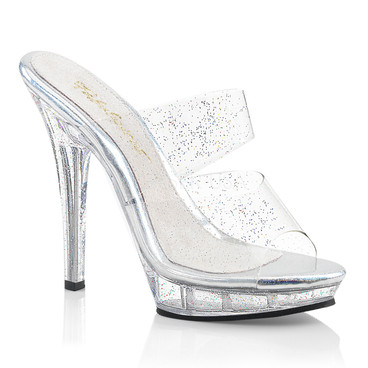 Lip-102MMG, 5 Inch High Heel Two Band Mule with Glitters