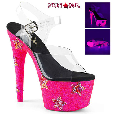 Adore-708STAR, 7 Inch Stiletto Heel with Stars Rhinestones color Hot Pink