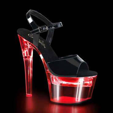 Flashdance-709, 7 Inch Exotic Dancer Sandal with Lite-Up Platform by Pleaser