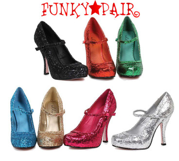 "Ellie Shoes | 423-Candy 4"" Glitter Maryjane Shoes"