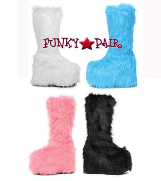 "Ellie Shoes | 500-Fuzz 5"" Rave Fluffy Platform Boots"