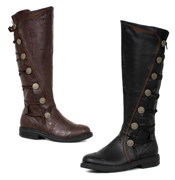 125-Fresco, 1 Inch Knee High Boots with Button Accent