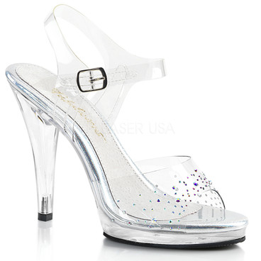 Flair-408SD, 4 Inch High Heel Ankle Strap with Rhinestones on Vamp