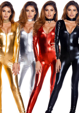 FP--112001, Metallic Zip front Jumpsuit