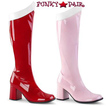 PLEASER FUNTASMA Hero-100 Red Patent Super Hero Fancy Dress Mens Knee Boots