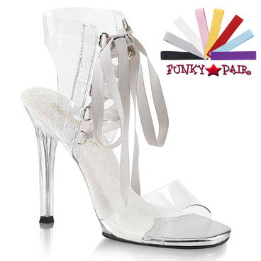"Pleaser Gala-32, 4.5"" Clear Sandal with Exchangeable Lace"