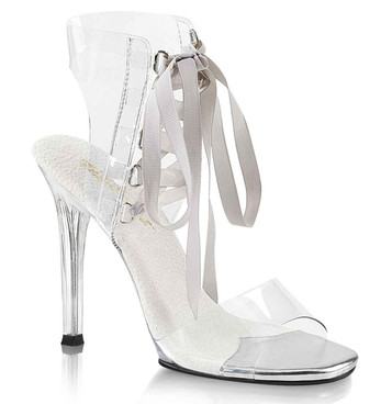 "Gala-32, 4.5"" Clear Sandal with Exchangeable Lace by Fabulicious Pleaser"