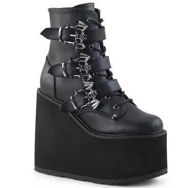 Triple Bat Buckles Wedge Platform Ankle Boots by Demonia Swing-103