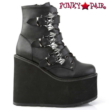 Demonia Swing-103, Triple Bat Buckles Wedge Platform Ankle Boots