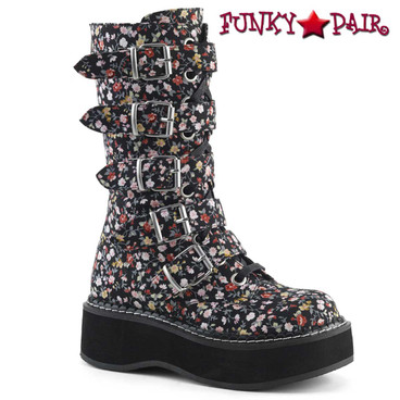 Demonia | Emily-340, Goth Flower Buckle Straps Boots