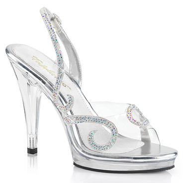 "4.5"" Clear Wedding Sandal with Rhinestones Fabulicious 