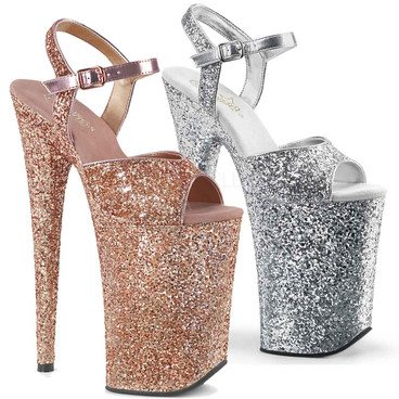 Pleaser | Infinity-910LG, 9 Inch Exotic Dancer Shoes  color available: Rose Gold, Silver