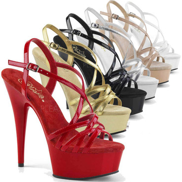 Pleaser Shoes | Delight-613, Stiletto Heel Criss Cross Strappy Sandal