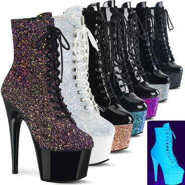 """Pleaser Boots Adore-1020LG, 7"""" Glitter Platform Ankle Boots"""