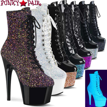 Stripper boots Adore-1020LG, 7 Inch Glitter Platform Ankle Boots