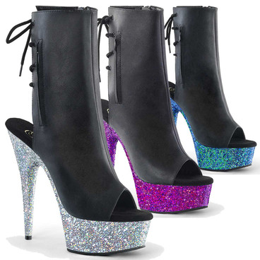 Pleaser | Delight-1018LG, Peep Toe and Glitter Platform Ankle Boots