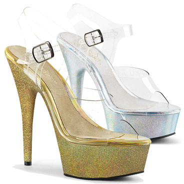 Pleaser Shoes | Delight-608HG, Platform Sandal with Holographic Glitter