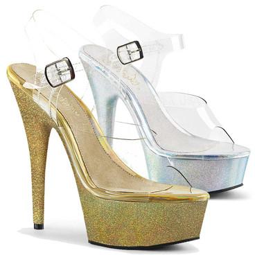Pleaser Shoes | Delight-608HG, Platform Sandal with Holographic Glitter