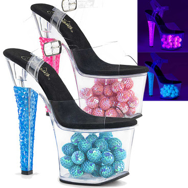 Neon Sandal with Sequin Balls Pleaser Shoes Radiant-708NSB,