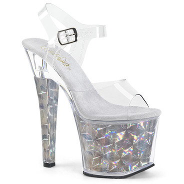 Radiant-708HHG, Sandal with Hexagon Holographic Bottom Pleaser Shoes