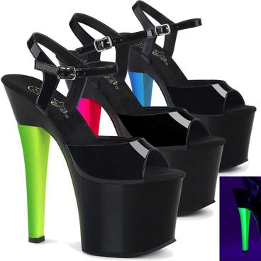 Radiant-709UVH, 7 Inch Reactive Heel Platform Sandal by Pleaser