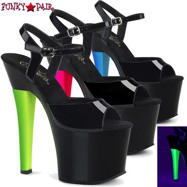 Pleaser | Radiant-709UVH, UV Reactive Stripper Heel
