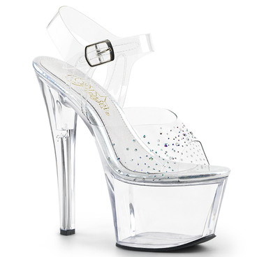 Sky-308SD, Ankle Strap Sandal with Rhinestones on Vamp  Pleaser Shoes