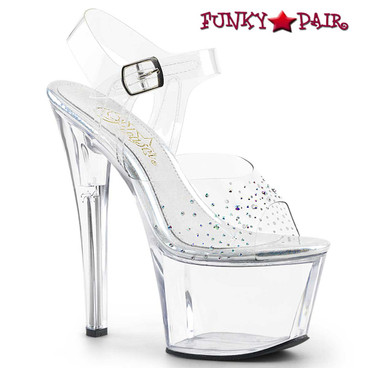 Pleaser | Sky-308SD, Ankle Strap Sandal with Rhinestones on Vamp
