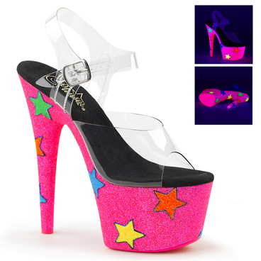 Adore-708UVGSTR, 7 Inch Platform with UV Bottom with Stars by Pleaser