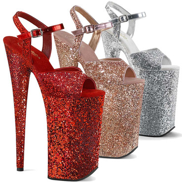 Pleaser | Beyond-010LG, Glitter Highest Heels  Color available: Rose Gold, Silver, Red
