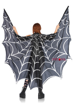 A2787, Spiderweb Print Wing Cape