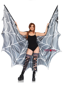 LA-2787, Spiderweb Print Wing Cape
